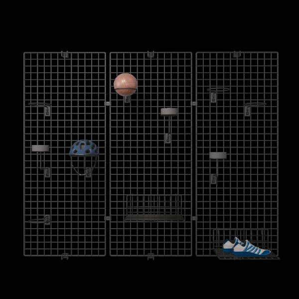 Wandgitter 3er-Set schwarz