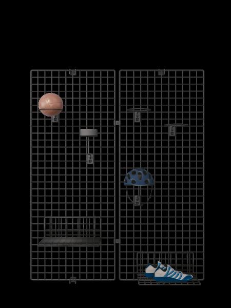 Wandgitter 2-er Set schwarz