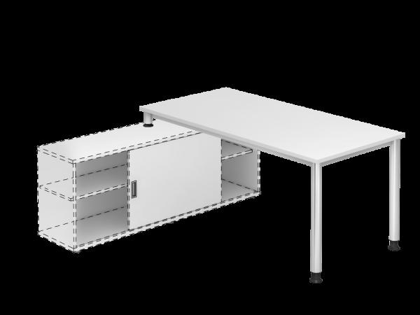Schreibisch zur Auflage auf Sideboard - Rundrohr Fuß - (Dekor weiß)