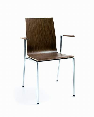 Stuhl, Holzsitzschale, Armlehnen