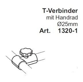 T-Verbinder 3-weg ø25mm, mit Handrad