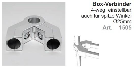 Box-Verbinder 4-weg ø25mm, einstellbar