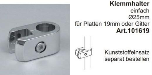 Klemmhalter für Rohr ø25mm, einfach, ( ohne Kunststoffeinsatz 2514 )