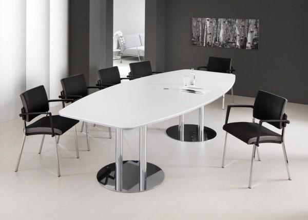 Konferenztisch weiß mit 4 Fußstuhl VSBP1