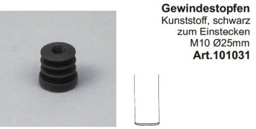 Gewindeeinsatz für Rohre ø25mm, mit Gewinde M10